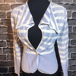Etcetera Periwinkle Stripe Rayon Cardigan Sz S